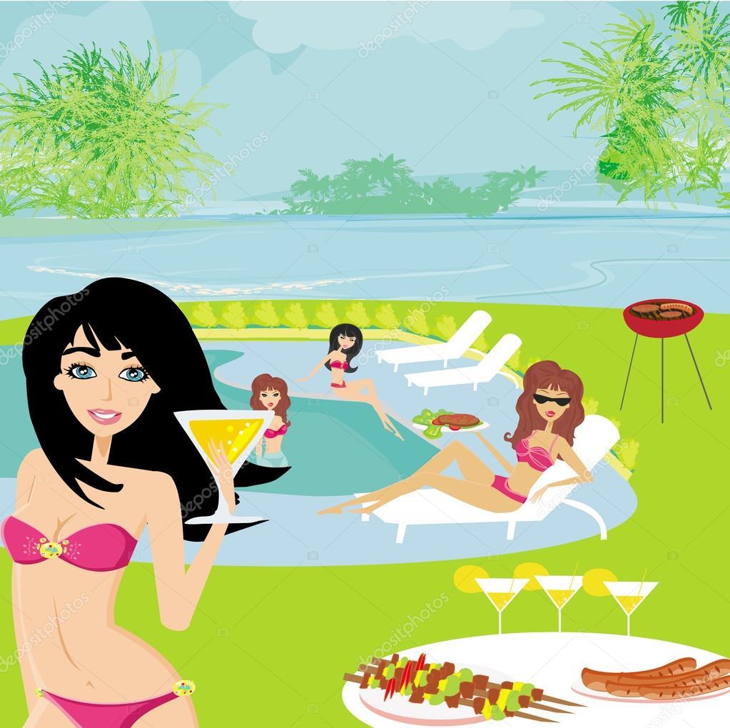 Partie de barbecue au bord de la piscine image for Au bord de la piscine