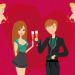 Stock Vector: Young couple flirt and drink champagne
