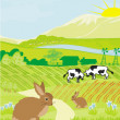 Cows and bunnies in green meadow — Stock Vector