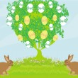 Stock Vector: Easter card with rabbits and tree