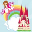 Girl on a unicorn flying on a rainbow — Stock Vector #39502319
