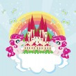 Card with a cute unicorns rainbow and fairy-tale princess castle — Stok Vektör