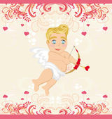 Happy valentines day vintage card with cupid — Stock Vector