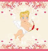 счастливый день валентина винтажная открытка с амура — Cтоковый вектор