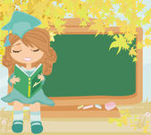 Green chalkboard with autumn leaves and schoolgirl with book — Stock Vector