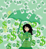Happy woman holding an umbrella in a money rain — Stok Vektör