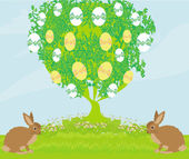 Easter card with rabbits and tree — Stock Vector