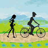 Actively spend the day - Nordic walking and riding a bike — 图库矢量图片