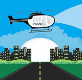 Police helicopter patrolling the city at night — Stock Vector