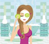 Cute woman applying moisturizer — Stock Vector