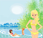 Girls and tropical pool — Stock Vector