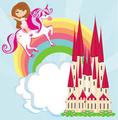 Girl on a unicorn flying on a rainbow — Stock Vector