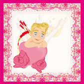 Valentines frame with a sweet cupid — Vector de stock