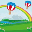 Hot Air Balloons of 4 of July in Flight — Stock Vector