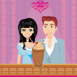 Stock Vector: Young couple flirt and drink coffee