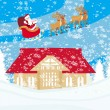 Santa Claus flying over city — Stock Vector