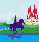 Prince riding a horse to the castle — Stock Vector