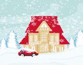 雪の中で立ち往生している車 — ストックベクタ