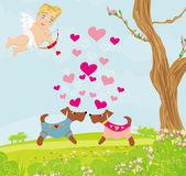 Söta hundar i kärlek — Stockvektor