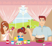 Family painting easter eggs — Stock Vector