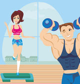 Man and woman exercises in the gym — Vettoriale Stock