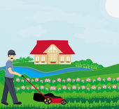 A vector illustration of a man mowing the lawn — Stock Vector