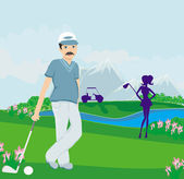 Golfers on a sunny day — Stock Vector