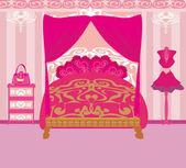 Elegáns rózsaszín hálószoba — Vector de stock