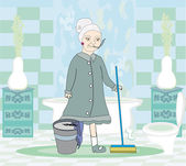 Cartoon character housemaid with mop — Stock Vector