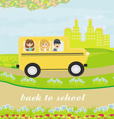 Illustration of a school bus heading to school with happy childr — Stock Vector