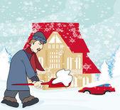 雪かきの男 — ストックベクタ