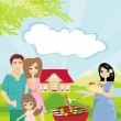 Family having barbecue in the garden — Stock Vector #40408429