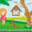 Stock Vector: Little girl swinging