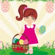 Easter card with girl and a basket of eggs — Stock Vector