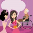 图库矢量图片: Girls gossiping about old min wheelchair
