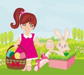 Sweet girl and Easter Bunny — Stock Vector