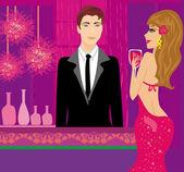 Barman au club et belle femme — Vecteur