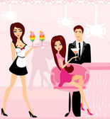 Young couple flirt and drink champagne in the club — Stock Vector