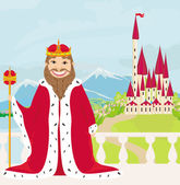 Smiling King looks at the castle — Stock Vector