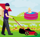 A vector illustration of a man mowing the lawn — Vetorial Stock