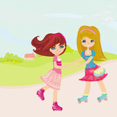 Cute little girls ride on rollers — Vector de stock