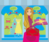 Beautiful woman doing the shopping in winter — Stockvector