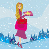 Card with a beautiful woman doing the shopping in winter — Stock Vector