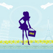 Beautiful women Shopping in France and Italy — Vector de stock #40410063