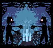 ゾンビ攻撃 - ハロウィンの面白いカード — ストックベクタ