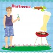 Stock Vector: Barbecue Party Invitation with place for your text