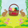 Greeting Card with Easter rabbits and basket with eggs — Stock Vector