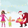 Santa claus distributes gifts — Stockvector