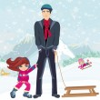 Girl wants to ride on a sled — Vettoriale Stock  #40916791