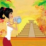 ������, ������: Tourist photographs Mayan Pyramid